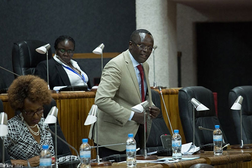 Martin Ngoga speaks during a past EALA session in Kigali. (File)
