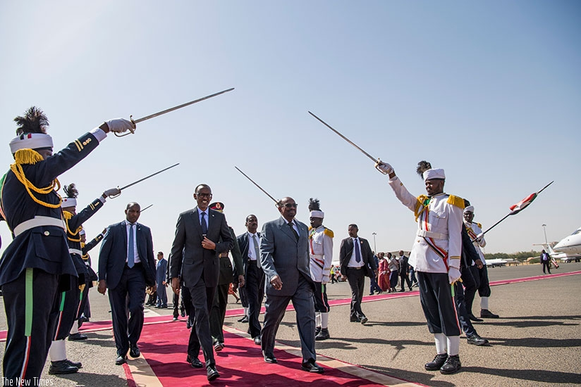 President Kagame was received by his counterpart Omar al-Bashir at Khartoum International Airport as he began his two-day state visit to Sudan yesterday. Village Urugwiro.