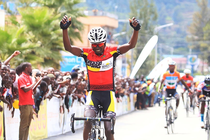 Benediction Club rider Byukusenge Patrick celebrates his victory in Rwanda Cycling cup in Musanze. S. Ngendahimana.