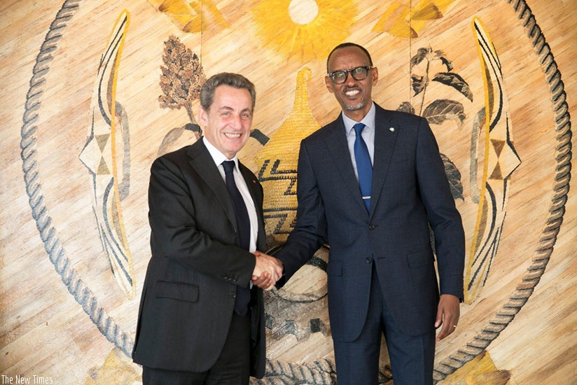 President Kagame on Monday received former French President Nicolas Sarkozy in his office in Kigali. (Photo by Village Urugwiro)