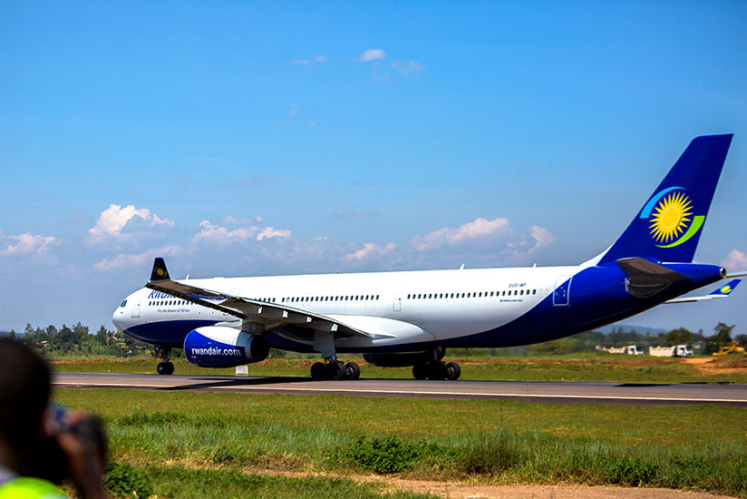 RwandAir's Airbus A330-300 prepares to took off from Kigali International Airport heading to Gatwick International Airport in May 2017. (File)