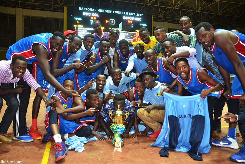 IPRC Kigali BBC players celebrate the crucial win against Espoir BBC 76-65 to win Heroes Cup 2017. Sam Ngendahimana.