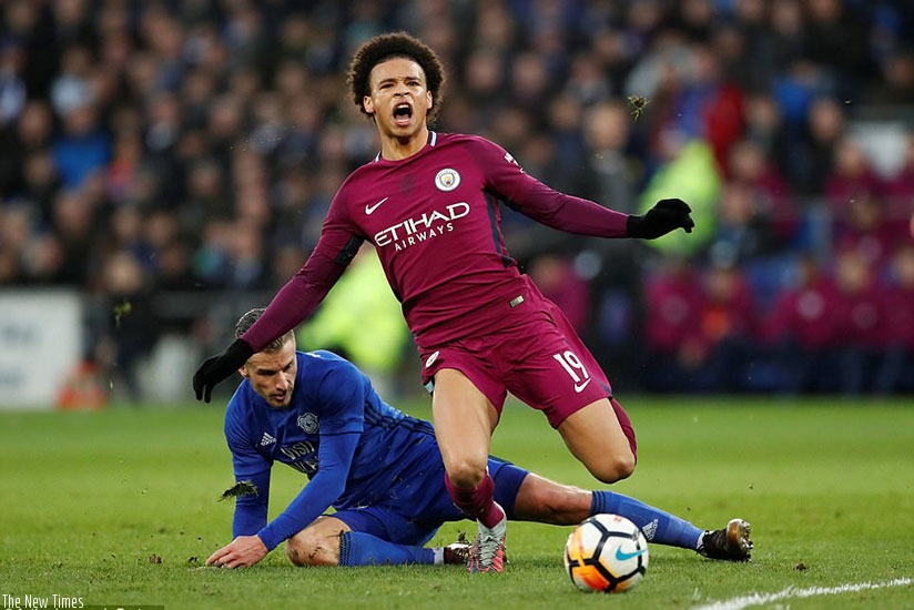 Sane was a victim of a horror challenge by Cardiff's Joe Bennett, whose late tackle brought the winger down to the ground. (Net photo)