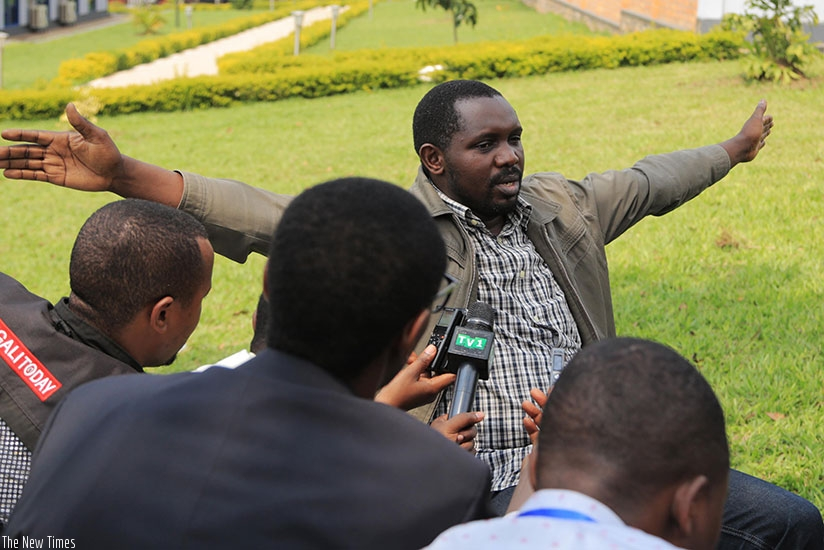 Cyemayire speaks to the media in Kigali yesterday. (Photos by Sam Ngendahimana)