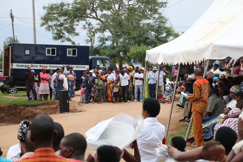 Residents of Musezero Cell turned up in large numbers to learn about the role of Isange One Stop Centre (Courtesy photo)