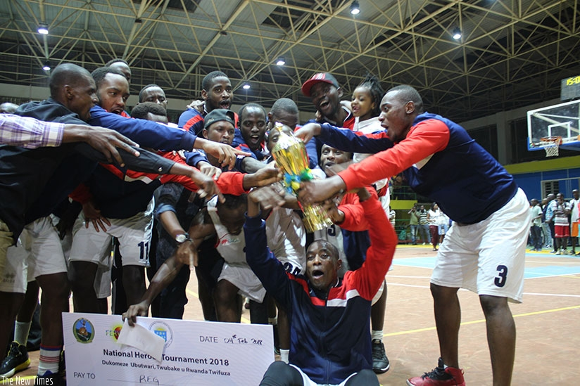 REG players celebrating after overcoming Patriots on Sunday night at Amahoro Indoor stadium. (Photos by Richard Bishumba)