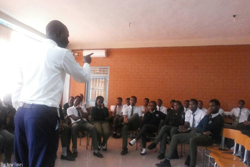 A teacher in a class session. A teacher's communication skills impacts learning outcomes in general.  / Lydia Atieno.