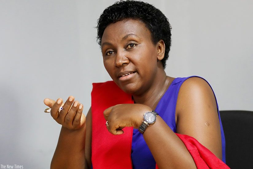Eugenie Mushimiyimana during the interview at her office at M&M Plaza in Gishushu.  (Timothy Kisambira)