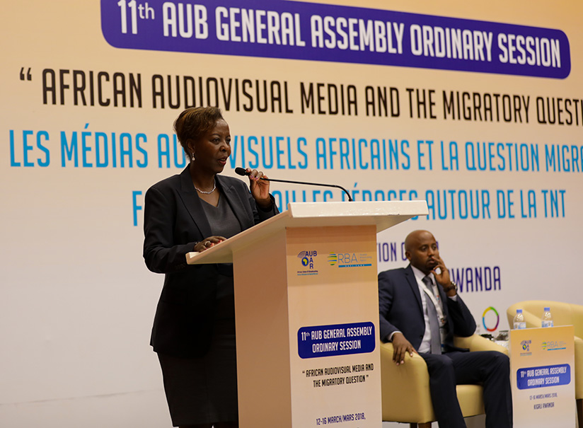 Foreign affairs minister, Louise Mushikiwabo speaks at the conference. (Photos by Timothy Kisambira)