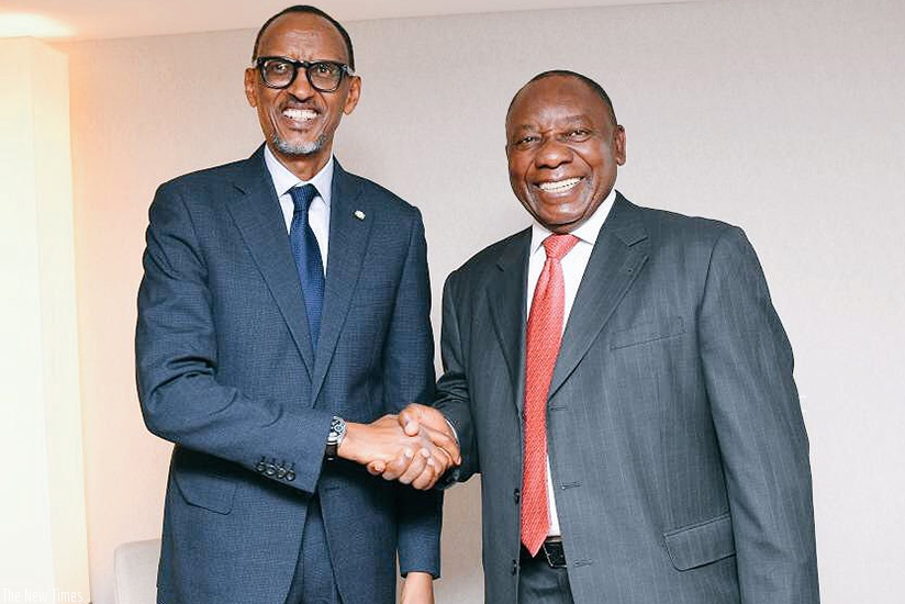 President Kagame and President Cyril Ramaphosa of South Africa during their meeting on the sidelines of the World Economic Forum in Davos in January. (Courtesy photo)