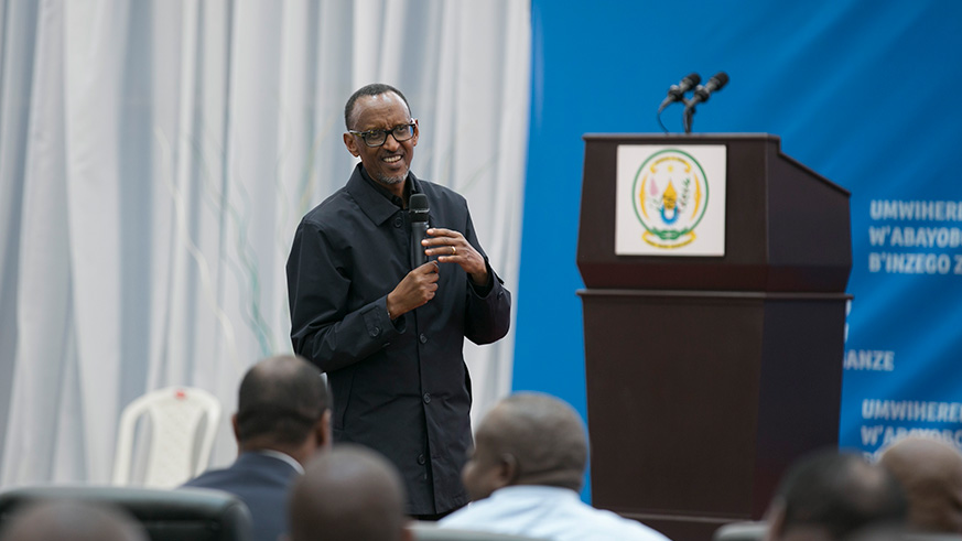 President Paul Kagame addresses some 1,300 local leaders at Petit Stade in Remera, Kigali yesterday.