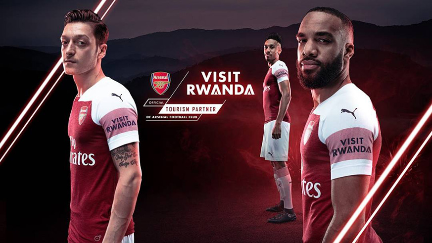 The Visit Rwanda brand will be worn by the Arsenal senior team, the women team and the junior team. / Courtesy.