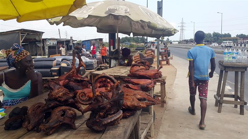 Bushmeat stalls have also returned to the sides of busy highways to cater to travelers. / Internet photo