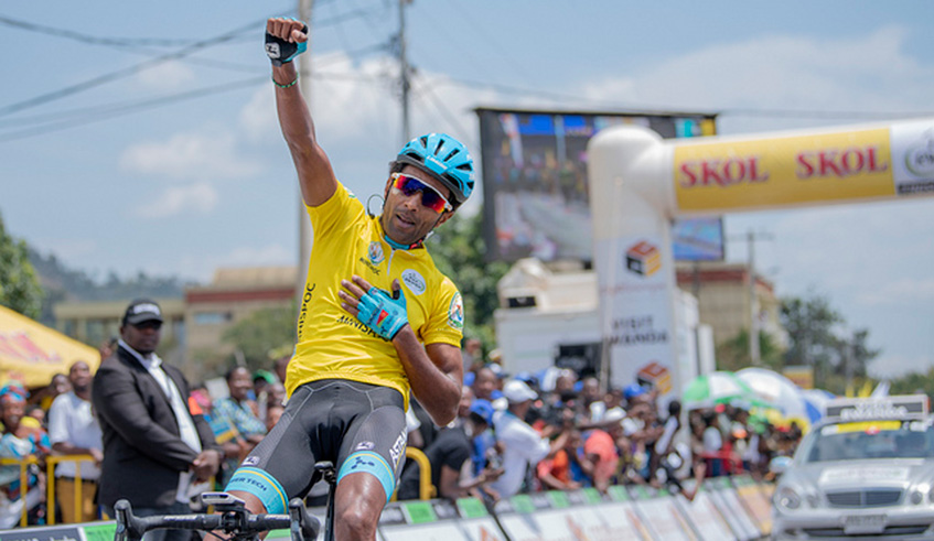 Merhawi Kudus celebrates his Stage 3 victory after crossing the finish-line in Rubavu on Tuesday afternoon. All photos by Plaisir Muzogeye