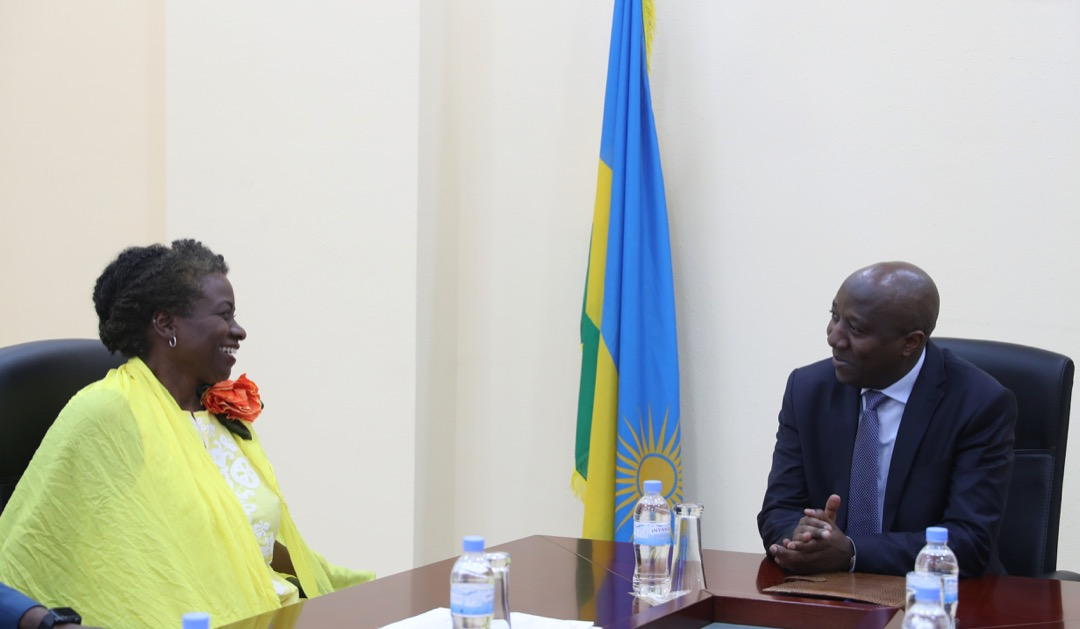 Prime Minister Edouard Ngirente having a chat with Natalia Kanem, Under Secretary General of UN and Executive Director of UNFPA, at the PM's office on Friday./Courtesy