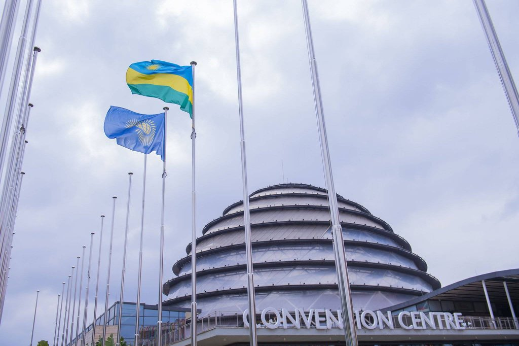 The flags of Rwanda and Commonwealth raised at Kigali Convention Centre, on Monday, which will host the opening ceremony of CHOGM 2020 in June. /Courtesy