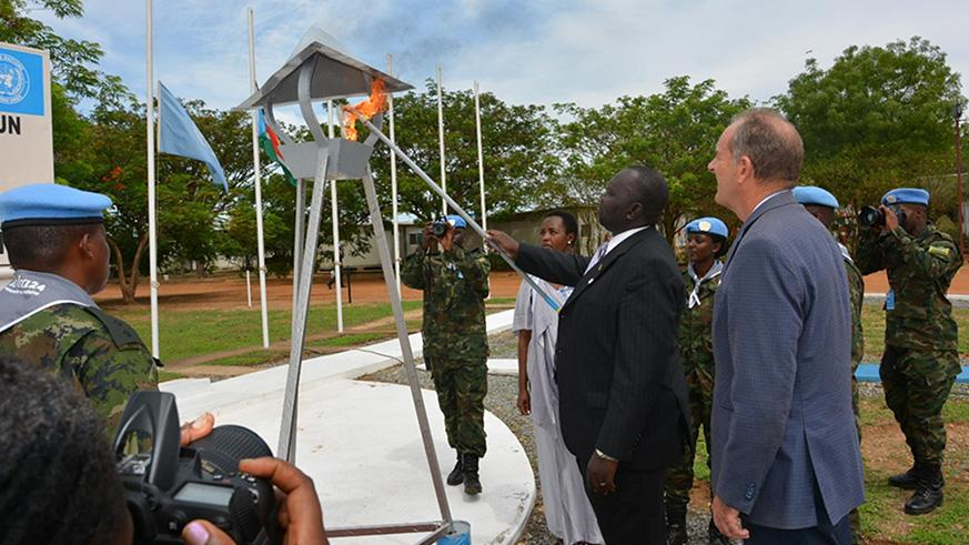 A flame of Remembrance was lit during the commemoration in Juba. / Courtesy
