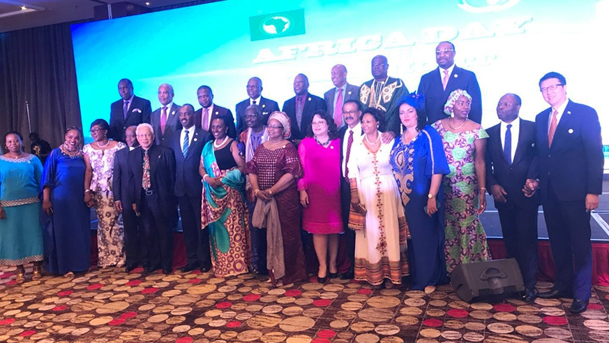 African ambassadors in a group photo during the celebration for Africa Day. / Courtesy