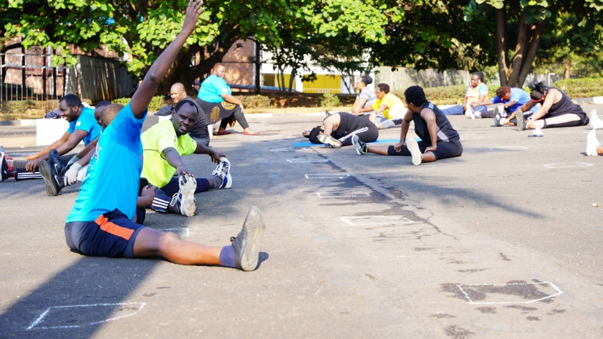 Participants who turn up to celebrate World Heart Day during their exercise at Amahoro National Stadium
