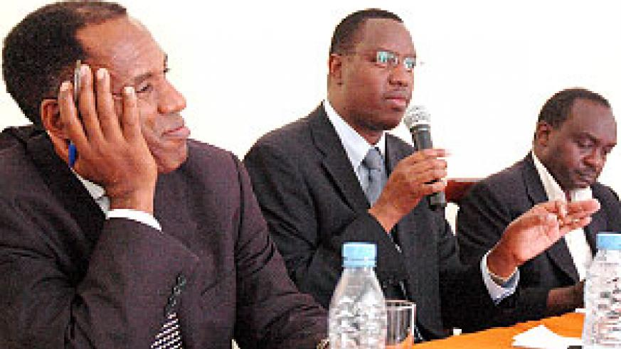 L-R: MP Ngirabakunzi, Minister Mitali and Mayor Byabarumwanzi at yesterday's press conference at Alpha Palace Hotel.