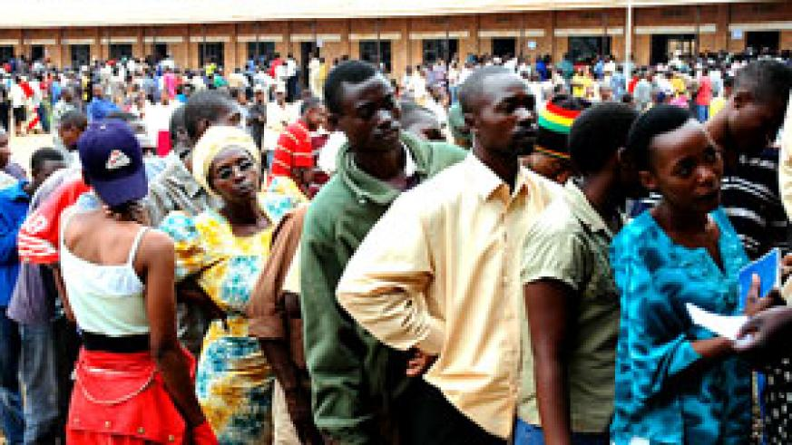 Long queues characterized yesterday's new national electronic identity card registration through out the country