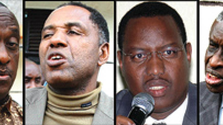 L-R: Suspended Liberal Party members, MPs Isaie Murashi and Elie Ngirabakunzi  the party treasurer. Party President Protais Mitali, is under petition while MP Emmanuel Mugabowindekwe (last from left) led the party probe team. (File Photos)