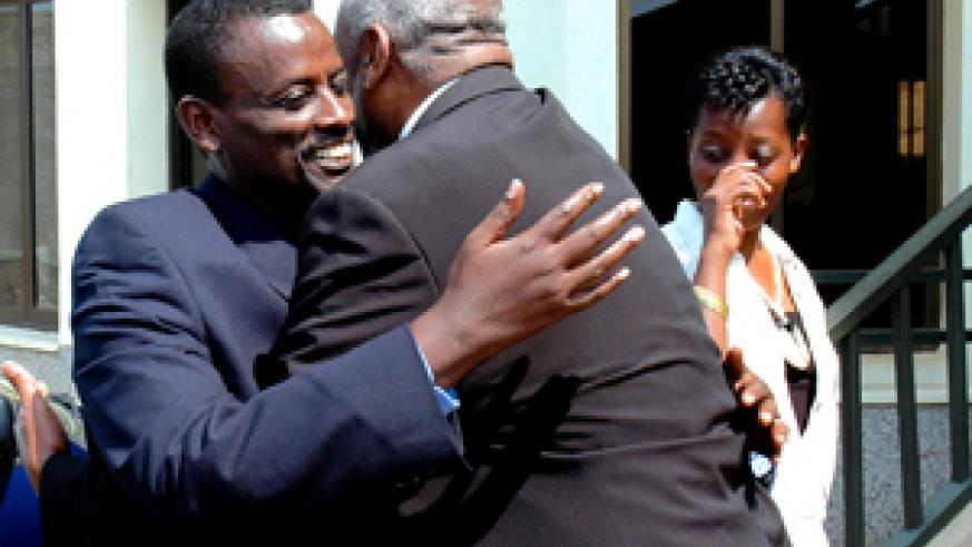 Kaka (left) being congratulated by a well-wisher shortly after his acquittal on September 21. (File photo)