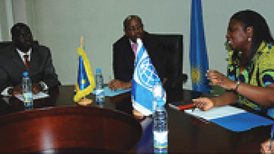 L-R   Anastas Murekezi , Infrastructure minister,  Finance minister  James Musoni and World Bank Country representative Victoria Kwakwa during the signing at the finance ministry. ( Photo/ G.Barya)