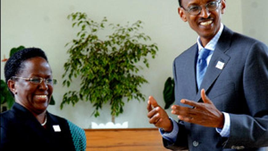 President Kagame and Ambassador Liberata Mulamula, the Executive Secretary of ICGLR at Village Urugwiro yesterday. (PPU Photo)