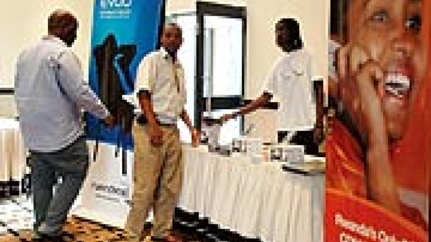 Rwantel staff at their stall during a recent exhibition at Kigali Serena Hotel. (Photo G/ Barya)