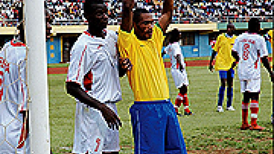 Labama Bokota Kamana featuring for the national team against Liberia recently.(File photo)