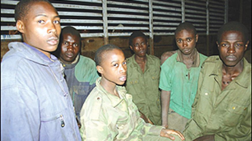 Some of the FDLR captives who were arrested by Gen. Nkunda's troops in August. Latest reports indicate that the rebels are fighting alongside the Congolese army against Nkunda. (File photo)