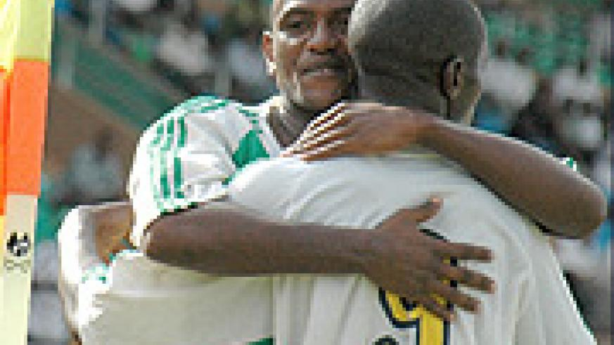 Omar Hitimana (Facing camera) celebrates with a teammate after Atraco scored during Cecafa championship. The U-23 captain has signed for Express. (File photo)