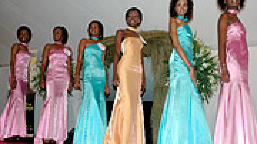 Some of the beauties lining up, in evening outfits during Miss Kigali beauty pageant hels on 3rd November at Jali Club.