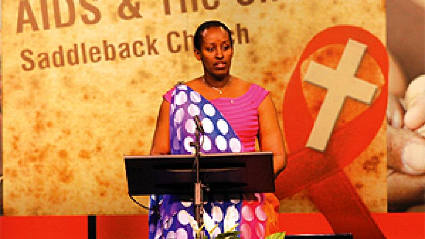 Mrs Kagame addressing the Global Summit on Aids and the Church in Los Angeles last week. (Courtesy photo)