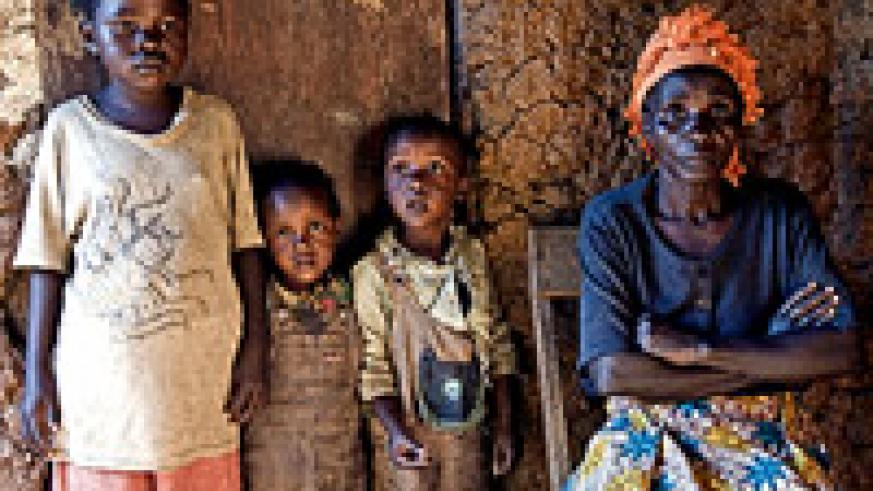 Photograph showing Mukandori, 72, who lives in a small house of three rooms in Kimironko, Kigali City. She said she had 12 children but now she only has one daughter because others died, three of HIV/Aids.