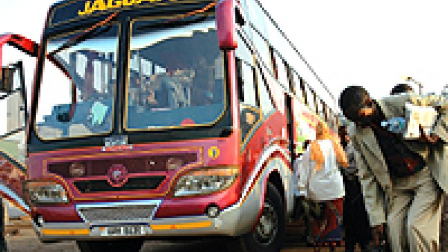 A Jaguar bus at Nyabugogo Bus/Taxi park. The latest accident is set to cause panic among the public, especially for those who intend to travel in cross-border buses for year-end festivities . (File photo)