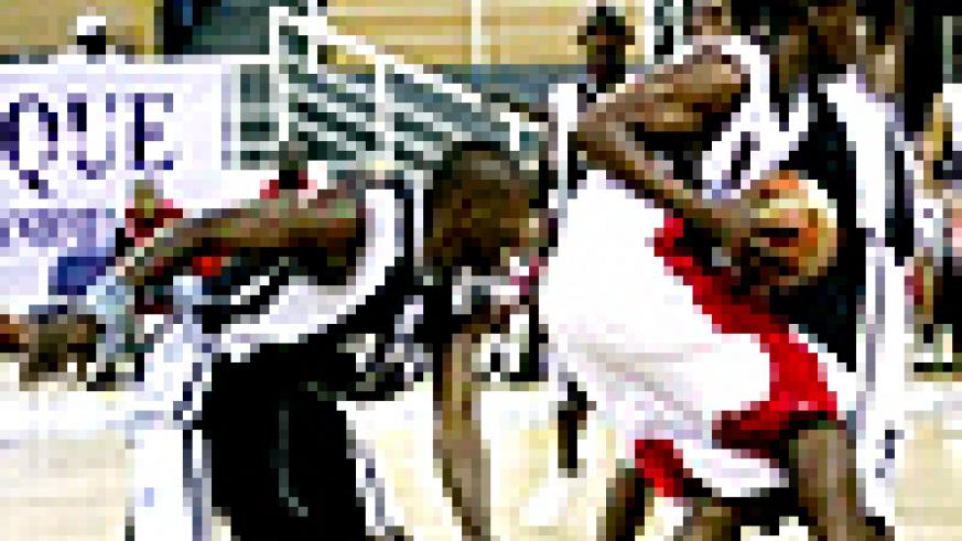 APR (Black) in action during the Fiba-Africa Club Championships in Angola
