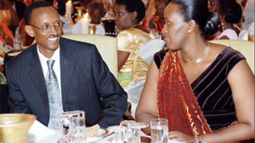 President Paul Kagame and his wife Jeannette, at his 50th birthday celebration. (Courtesy photo)