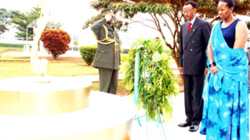 President Kagame and Mrs Kagame lay a wreath at the Heroes' Cemetery in Remera yesterday to commemorate Heroes' Day. (PPU photo)