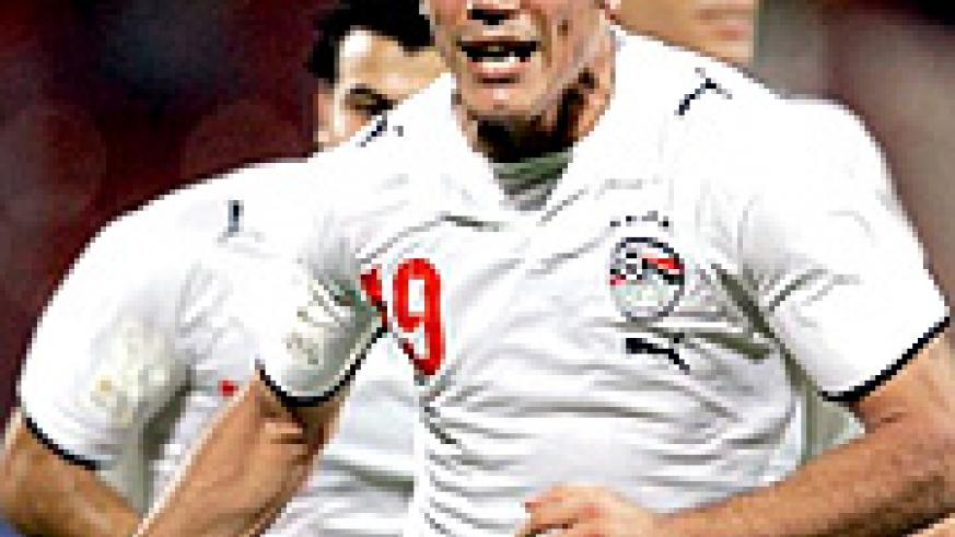 TORMENTOR IN CHIEF: Amr Zaky celebrates after scoring against Ivory Coast .