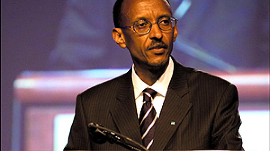 President Kagame addresing the AAAS 2008 Annual Meeting. (PPU photo)