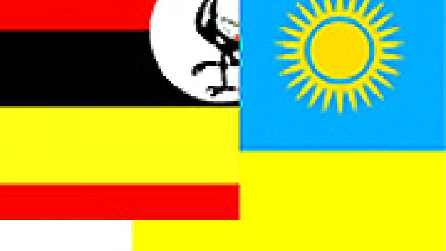 Graphic illustration of a Ugandan and Rwanda flag