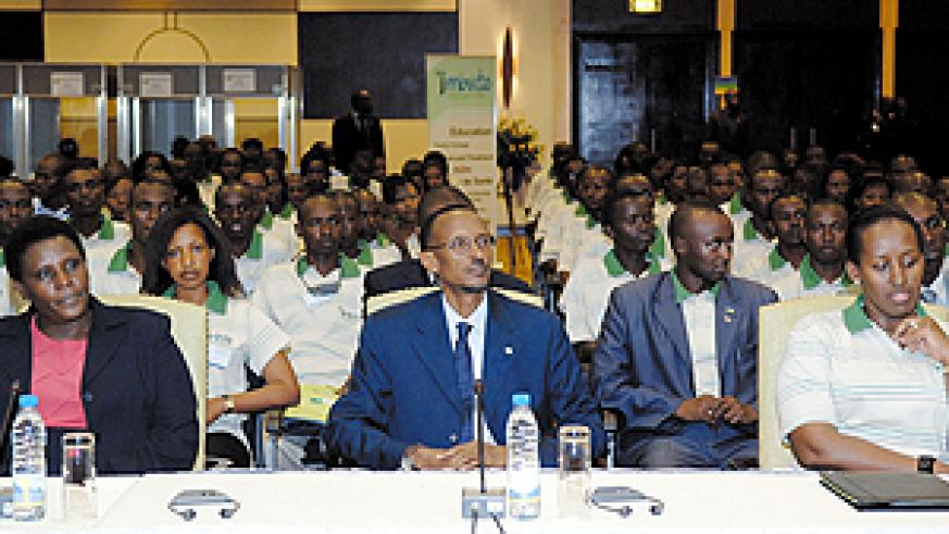 President Paul Kagame and First Lady Jeannette at the youth forum. Left is the Education Minister Dr Daphrosa Gahakwa. (PPU photo)