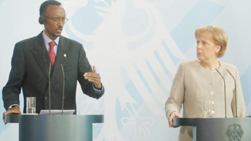 President Kagame and Chancellor Angela Merkel at a joint press conference after their meeting at the Federal Chancellery (PPU Photo)