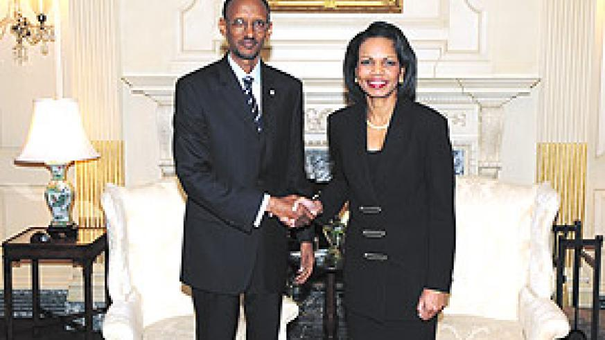 President Paul Kagame and US Secretary of State Condoleeza Rice in Washington DC last week. The President had been invited to give a keynote address during the Summit on Higher Education.