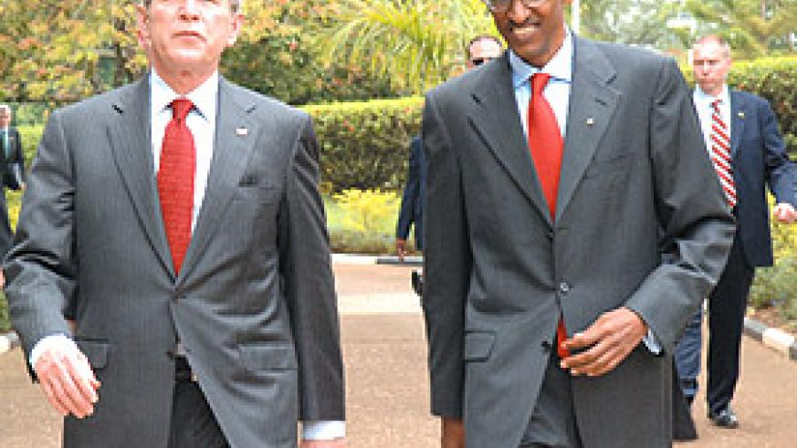 US President George Bush with President Paul Kagame. Both are among world leaders invited to the 60th Anniversary of Israel's independence. ( File photo).