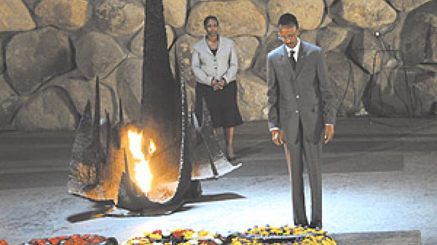 President Paul Kagame lays a wreath at the Yad Vashem Holocaust Memorial in Jerusalem. The President had gone to attend the 60th anniversary of the founding of Israel.