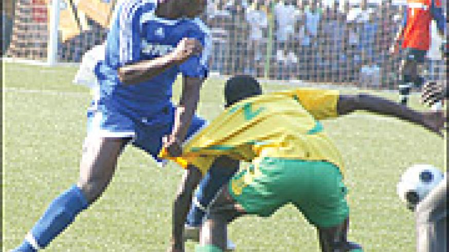 Olivier Uwingabire (seen here in action against local rivals Atraco) missed Rayon's decisive penalty.