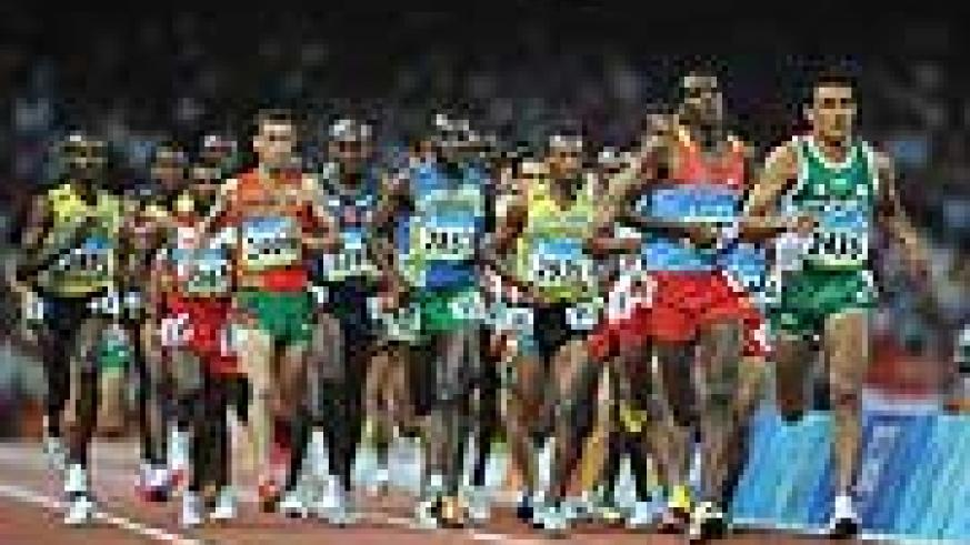 Athletes compete in Men's 10000m final. Disi (middle, 2857) finished 20th. (Photo credit- Xinhua)
